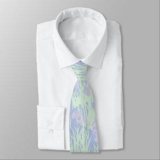 Asian-Inspired Pastel Irises on Blue Tie