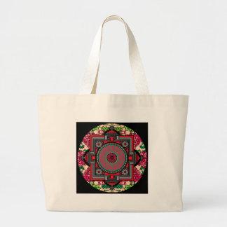 Asian Inspired Red Mandala Large Tote Bag