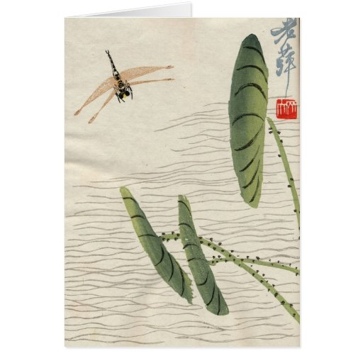 Asian Inspired Vintage Cards - Dragon Fly