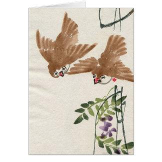 Asian Inspired Vintage Cards - Little Birds