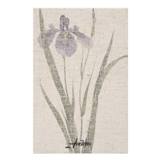 Asian Iris Flower Leaves Linen Look Stationery