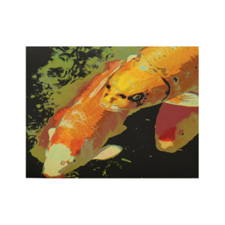 Asian Koi Fish Carp Abstract Art Wood Poster