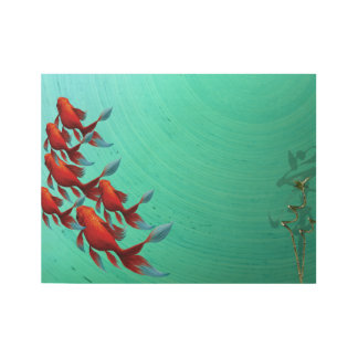 Asian Koi Fish Carp Digital Art Wood Poster