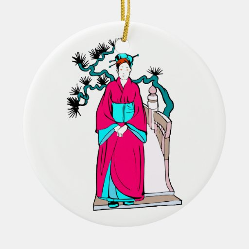 Asian lady with bonsai tree behind her christmas ornaments