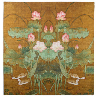 Asian Lotus Flowers Geese Birds Cloth Napkins