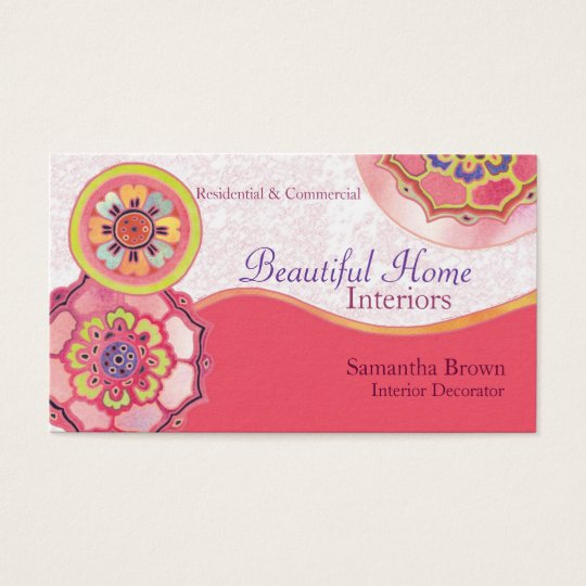 Asian Lotus Pattern Interior Design Business Cards