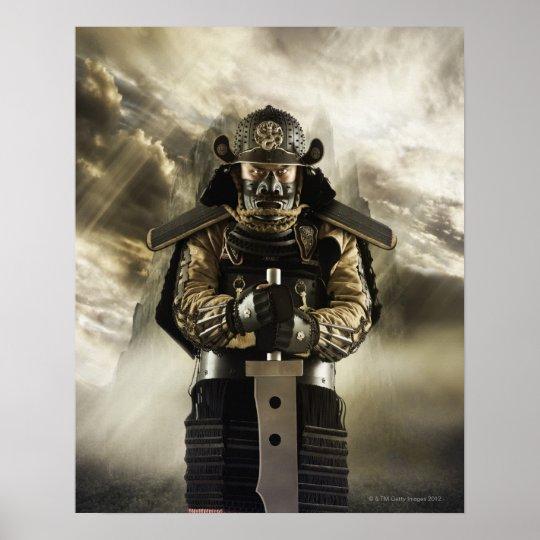 Asian man in samurai armour poster