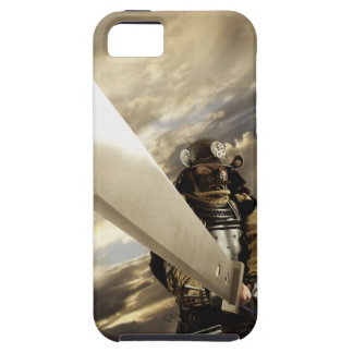 Asian man wearing samurai armor and holding iPhone 5 covers