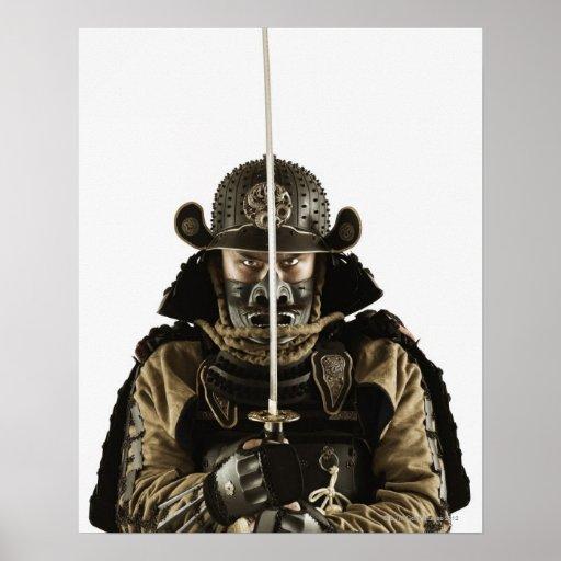 Asian man wearing samurai armor poster