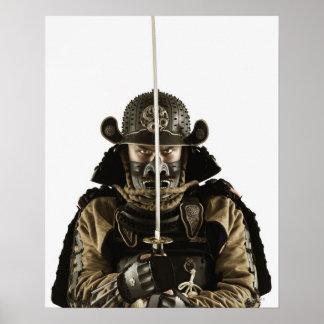 Asian man wearing samurai armour poster