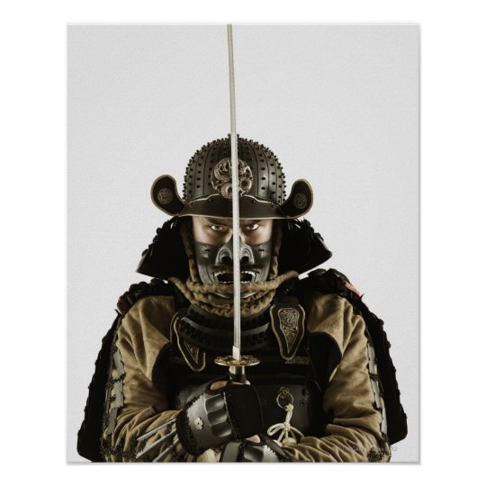 Asian man wearing samurai armour poster