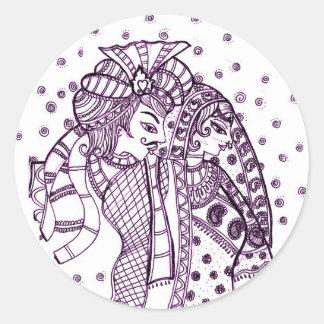asian mehndi-Wedding Classic Round Sticker
