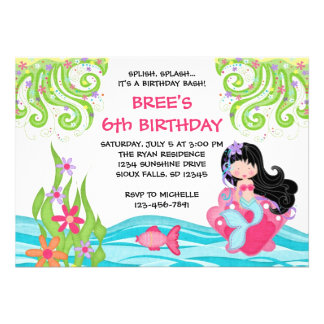 Asian Mermaid Birthday Invitations