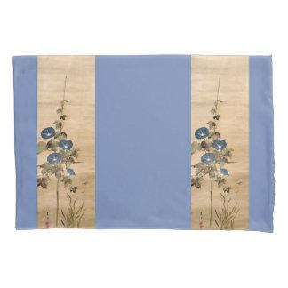 Asian Morning Glory Flowers Scroll Art Pillowcase