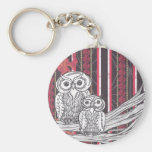 Asian Owls keyring Basic Round Button Key Ring