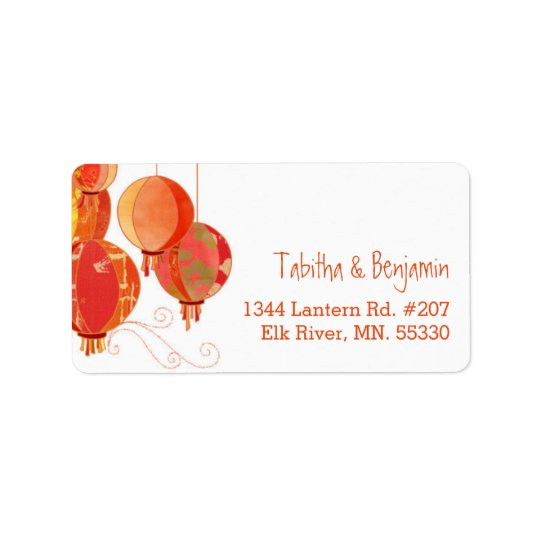 Asian Paper Lanterns Chic Wedding Address Address Label