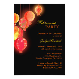 Asian Paper Lanterns Retirement Party 13 Cm X 18 Cm Invitation Card