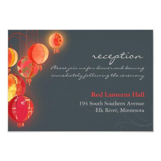 Asian Party Lanterns Wedding Reception Enclosure Card