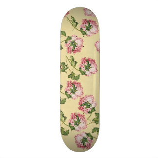 Asian Peony Flowers Floral Skateboard