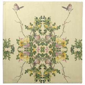 Asian Rose Heart Flowers Birds Cloth Napkins