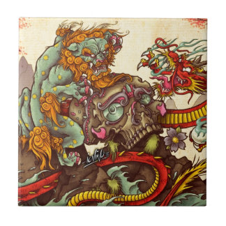 Asian scene with foo dog and dragon small square tile