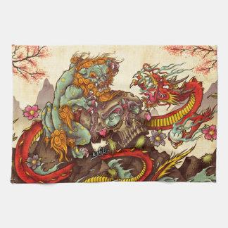 Asian scene with foo dog and dragon tea towel