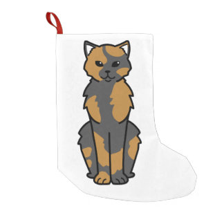 Asian Self & Tortie Cat Cartoon Small Christmas Stocking