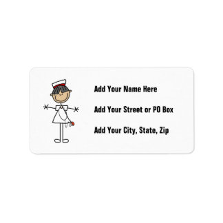 Asian Stick Figure Nurse T-shirts and Gifts Address Label