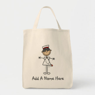 Asian Stick Figure Nurse T-shirts and Gifts Grocery Tote Bag