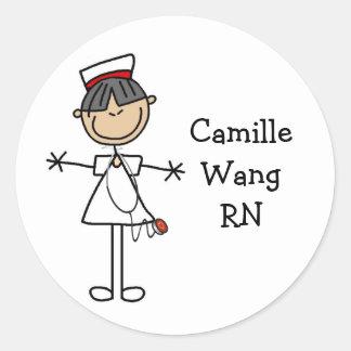 Asian Stick Figure Nurse T-shirts and Gifts Round Sticker