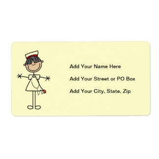 Asian Stick Figure Nurse T-shirts and Gifts Shipping Label