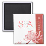 Asian Style Mum Red + White Monogram Save the Date