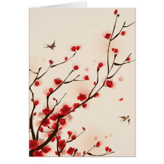 Asian Style Painting Plum Blossom in Spring Card