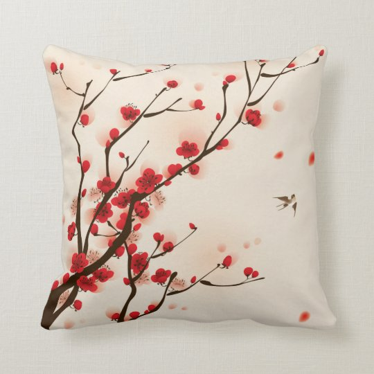 Asian Style Painting, Plum Blossom in Spring Cushion
