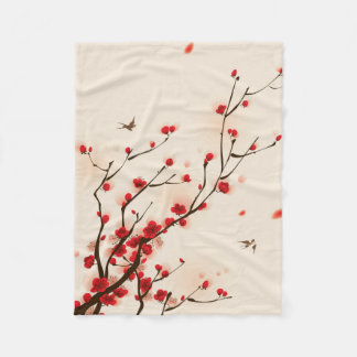 Asian Style Painting, Plum Blossom in Spring Fleece Blanket