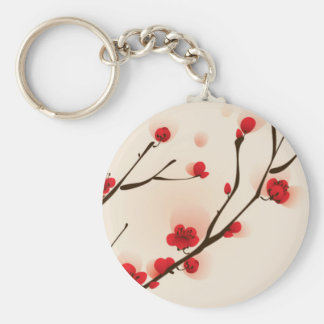 Asian Style Painting, Plum Blossom in Spring Key Ring