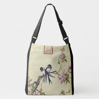 Asian Swallow Swift Birds Flower Blossoms Tote Bag