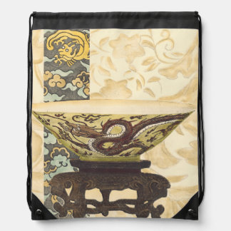 Asian Tapestry with Bowl and Dragon Design Drawstring Bag