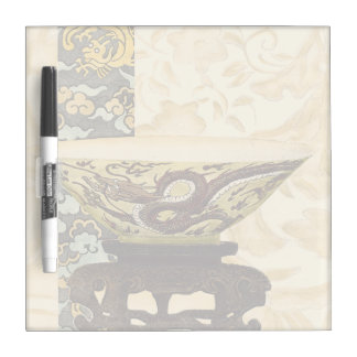 Asian Tapestry with Bowl and Dragon Design Dry Erase Board
