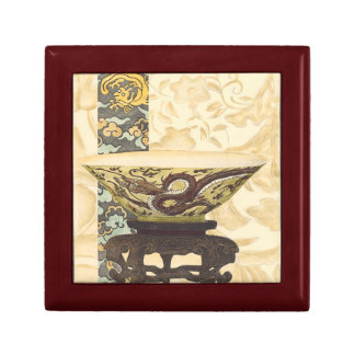 Asian Tapestry with Bowl and Dragon Design Gift Box