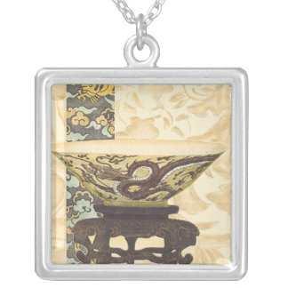 Asian Tapestry with Bowl and Dragon Design Silver Plated Necklace