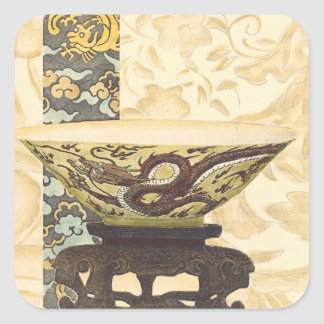 Asian Tapestry with Bowl and Dragon Design Square Sticker