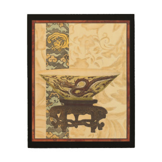 Asian Tapestry with Bowl and Dragon Design Wood Wall Art