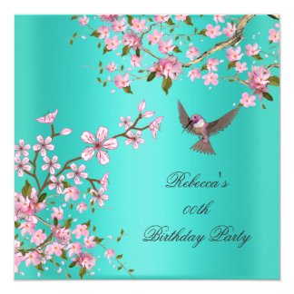 Asian Teal Pink Blossom Birthday Party Bird 5.25x5.25 Square Paper Invitation Card