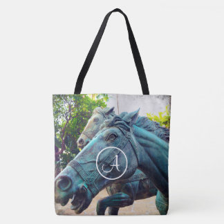 Asian turquoise horse statue photo custom monogram tote bag