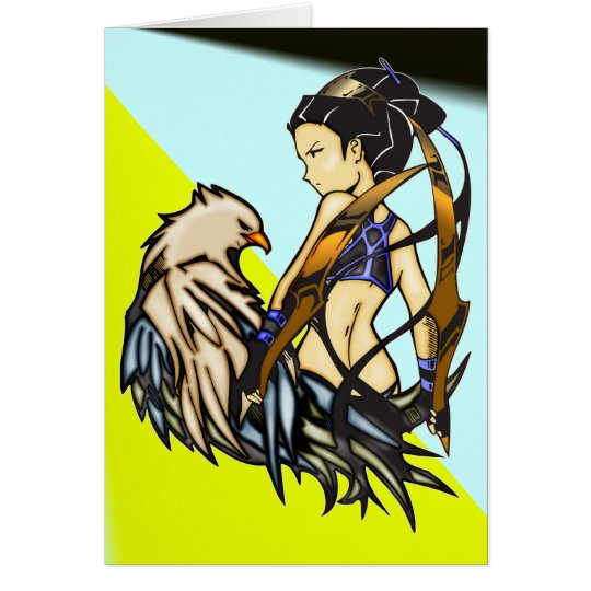 Asian Warrior Woman and Eagle Card
