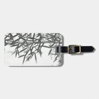Asian wash painting style (sumi-e) style bamboo luggage tag