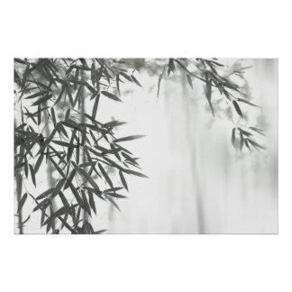 Asian wash painting style (sumi-e) style bamboo poster