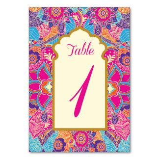 Asian - Wedding - Henna - Mehndi - Table Numbers Table Card