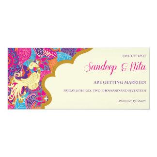 Asian - Wedding - Henna - Save The Date 10 Cm X 24 Cm Invitation Card